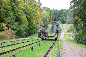 The Inclined Planes and carriage in Buczyniec - Elblag Canal, ships transported over hills, the exceptional solution in entire world. Unesco memorial to world culture.