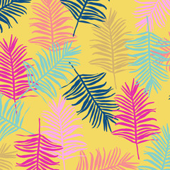 Tropical jungle leaves seamless pattern background. Colorful tropical poster design. Exotic leaves art print. Wallpaper, fabric, textile, wrapping paper vector illustration design