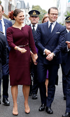 Sweden's Crown Princess Victoria and Prince Daniel arrive at the Bernadotte Museum as part of a visit for the bicentenary of the Swedish throne in Pau