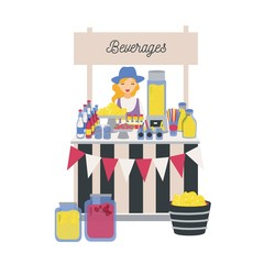 Female seller standing at counter, stall or kiosk with lemons, lemonade and other soft drinks. Girl selling refreshing beverages on local farmers market. Vector illustration in flat cartoon style.