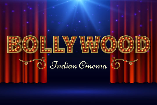 Bollywood indian film. Vintage movie poster with old stage and red curtain. Vector illustration. Bollywood cinema banner, movie cinematography industry