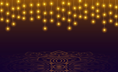 Festive shiny background with lights and mandala ornament.
