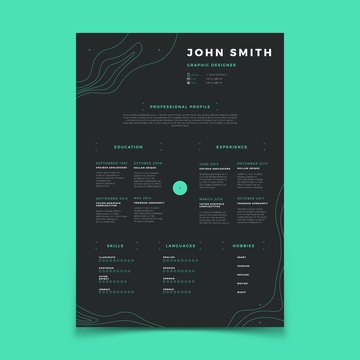 Curriculum vitae template. Cv resume for placeholder company vector layout. Illustration of vitae curriculum profile with language, hobby and skill