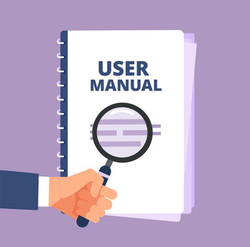 User manual with magnifying glass. User guide document and magnifier. Handbook, handbook, instruction and guidebook vector icon. Illustration of instruction handbook with information help