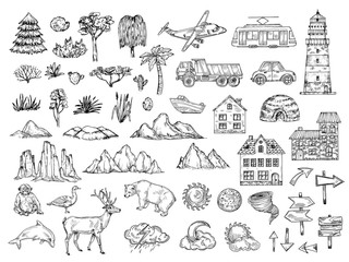Hand drawn map elements. Sketch hill mountain, tree and bush, buildings and clouds. Vintage engraving vector symbols for cartography. Animal and pointer, sun and moon sketch, monkey bear illustration