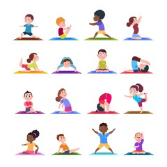 Children in yoga poses. Cartoon fitness kids in yoga asana. Vector characters isolated set. Illustration of fitness sport yoga pose for child