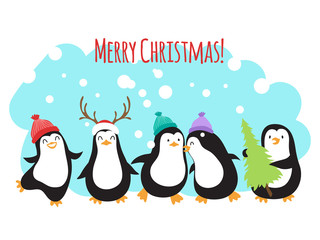 Christmas winter holidays vector greeting banner or background with cute cartoon penguins. Penguin merry xmas celebration, snowy banner illustration