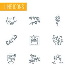 Celebration icons line style set with sunflower, celebration, umbrella and other parasol  elements. Isolated vector illustration celebration icons.