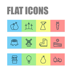 Garden icons set with draw well, stump, pear and other gardening shoes