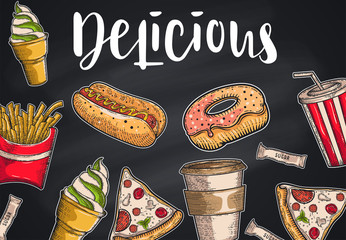 Vintage Fast food set. Hand drawn, lettering, sketch. Vector objects for menu, advertising and banners