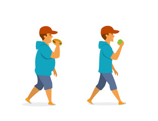 healthy and unhealthy eating habits, before and after vector illustration