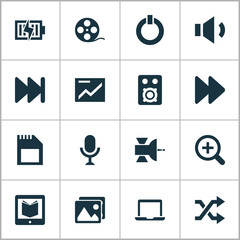 Media icons set with satellite, microphone, shuffle and other forward