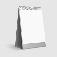 Calendar mockup. Blank white desktop office calendar with ring binder. 3d vector template. Calendar office mock up, page with spiral illustration