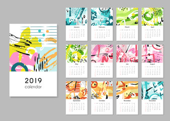Calendar 2019. Seasons collage, abstract painting modern creative printable planner. Vector organizer with calendar grid template. Illustration of calendar planner page collection
