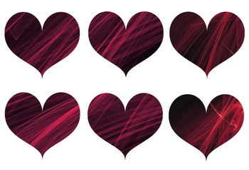 Bundle of dynamic hearts made of energy lines. For creativity, ideas, backgrounds, valentine days, mother's day, postcards, icons, posters.