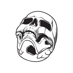 Human Skull hand drawing. Bottom angle. Black linear drawing isolated on white background. EPS10 vector illustration