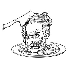 Cartoon zombie head served on a dish with eyeballs and fingers. Halloween cleepart. Black linear drawing isolated on a white background. EPS10 vector illustration.
