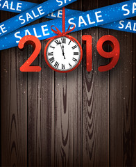 Wooden sale 2019 background with red clock and ribbons.