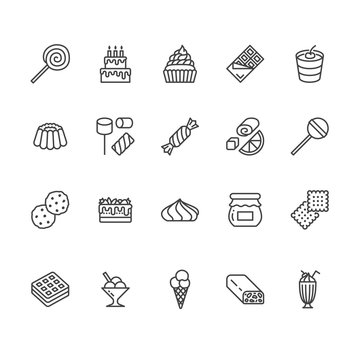 Sweet food flat line icons set. Pastry vector illustrations lollipop, chocolate bar, milkshake, cookie, birthday cake, marshmallow. Thin signs for desserts menu. Pixel perfect 64x64. Editable Strokes.