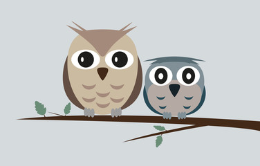two cute owls on tree branch vector illustration