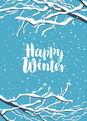 Vector winter banner in a flat style with inscription Happy Winter and snow-covered branches of tree on the background of blue sky with snowflakes