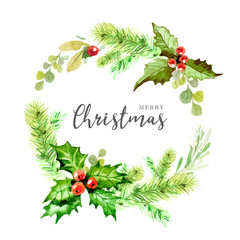 Lovely botanical Christmas wreath in watercolor style