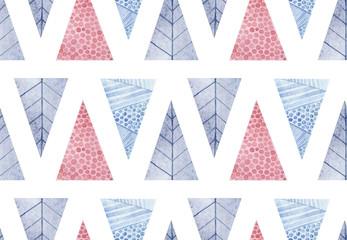 Christmas and New Year modern pattern. Blue, purple, pink geometric tree