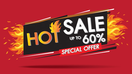 Hot Sale Fire Burn template banner concept design, Big sale special 60% offer.End of season special offer banner shop now.