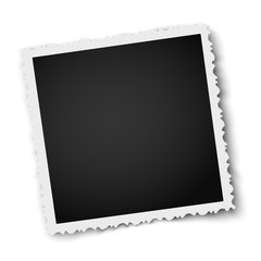 Retro realistic square photo frame with figured edges isolated on white. Vector photo mockup.