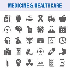 Medicine And Healthcare Set Of Vector Icons