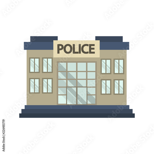 Police Office Building Color Icon Flat Design Stock Image And