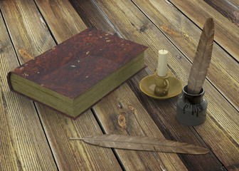 Inkstand, nib, book and candle on a table - 3D