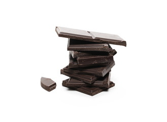 Dark chocolate with cocoa bars, pieces isolated on white background