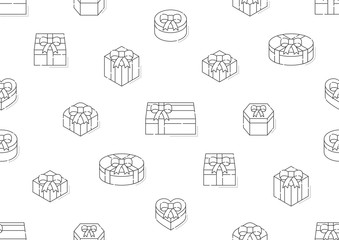 Gift box 3d isometric with shadow icon seamless pattern outline stroke set dash line design illustration isolated on white background, vector eps 10