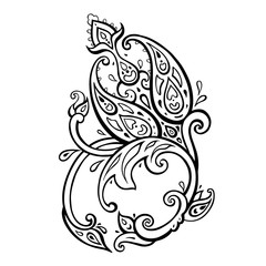 Exotic Paisley. Ethnic ornament. Hand Drawn Boho Vector illustration