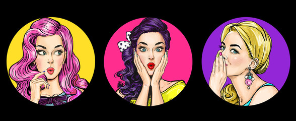 Set of amazed women in pop art style.Gossip girls with wow face. Advertising poster of sale or...
