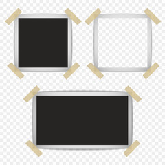 Set of retro photo frames with shadows on a sticky tape with the possibility of overlay. Vector illustration isolated on transparent background.
