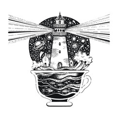 Lighghouse in coffee cup with ocean waves. Black silhouette for t-shirt print or tattoo. Hand drawn surreal design for apparel. Vintage vector illustration, sketch isolated on white background