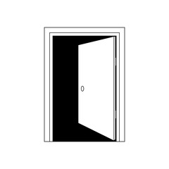 Door icon. Black and white icon. Enter or exit symbol.