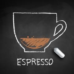 Vector chalk drawn sketch of Espresso coffee