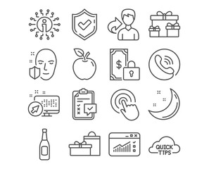 Set of Click, Checklist and Private payment icons. Beer, Face protection and Quick tips signs. Web traffic, Surprise boxes and Gifts symbols. Cursor pointer, Survey, Secure finance. Vector