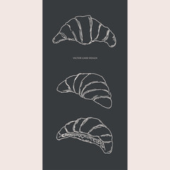 Vector illustration. Pen style drawn croissants. Vector card design.