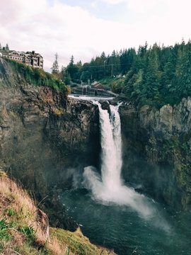 Snoqualmie Falls Washington, in the fall in cloudy weather.