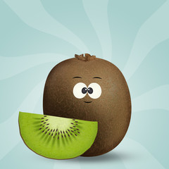 illustration of kiwi with funny face