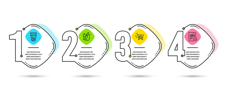 Infographic template 4 options or steps. Set of Shopping cart, Ice tea and Painting brush icons. Checked calculation sign. Online buying, Soda beverage, Graphic art. Statistical data. Vector