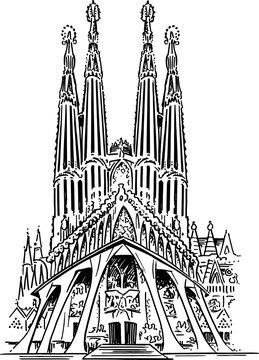Sagrada Familia Vector Drawing