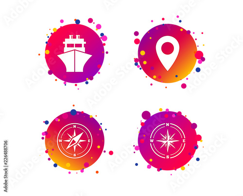Windrose navigation compass icons  Shipping delivery sign  Location