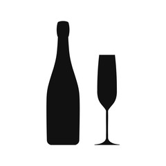 Champagne goblet and bottle icon.Vector.