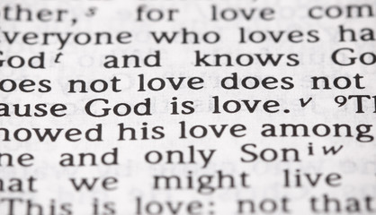 Bible Verse God is Love in Narrow Focus