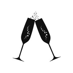 Champagne goblets. Vector illustration. Isolated.